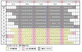 南北循環線運行カレンダー